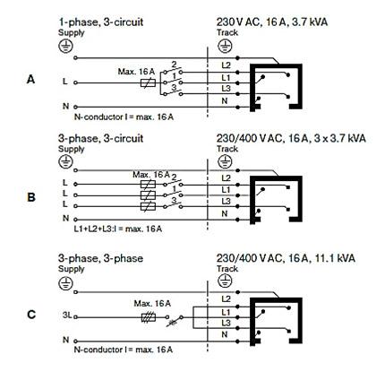 Схема подключения шинопровода:
